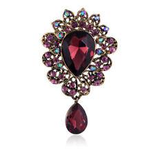 Stunning Antique Gold Plated Vintage Inspired Burgundy Purple Crystal Brooch