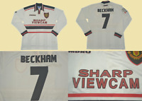 Manchester united 1997 1998 1999  jersey shirt david beckham away white ucl styl