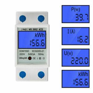 Digitale LCD 230V 5-80A Monofase DIN-Rail Elettrico Contatore Energia KWh Metro