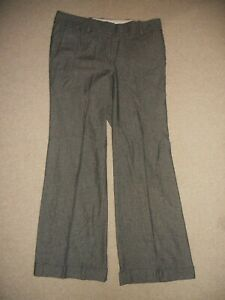 Womens Pants-ANN TAYLOR-gray/black tweed rayon/wool stretch bootcut flat front-8
