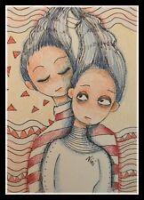 Aceo Original Mini Art Card GEOMETRICALLY OPPOSED Mixed Media