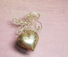vintage sterling silver large 3D puffy heart pendant long necklace