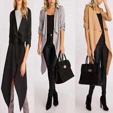 Womens Ladies Long Turn Up Sleeve Drape Waterfall Belted Duster Coat Jacket