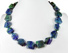Beautiful Precious Stone Necklace in Azurite-Malachite Freeform Polished