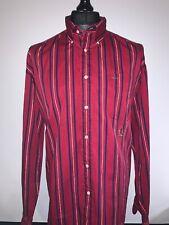 Mens Tommy Hilfiger Maroon Burgundy Striped Retro Long Sleeved Cotton Shirt XL