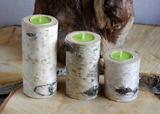 3 Rustic Wooden Branch Log SILVER BIRCH Tea Light Candle Holder Wedding Decor 02