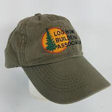 Log Home Builders Association Six Panel Baseball Style Hat Olive Green