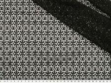 spitze mit geometrischen Blumen schwarz 136cm