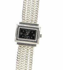 Ecclissi 33612 Sterling Silver Multi-Curb Link Black Face Bracelet Watch