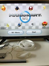 Nintendo Wii WHITE RACING Bundle With 8 Games Inc MARIO KART F1 2009 and Others