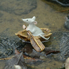 Miniature Fairy Garden MOUSE ROWING BOAT (NEW)