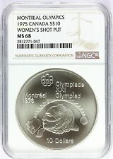 1975 Canada Montreal Olympics Women's Shot Put Silver $10 Coin NGC MS 68 KM# 103