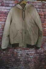 Carhartt J03 Brown Duck Canvas Work Hooded Jacket Sz XL Tall USA Made Stains