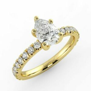 1 CT Diamond Engagement Ring Pear Shape Cut H/SI2 14K Yellow Gold Size Selectabl