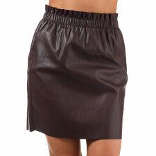 Womens Vero Moda Riley Ruffle Faux Leather Skirt In Winetasting