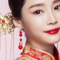 New Fashion Red Pearl Earrings Ear Drop Elegant Clip Earrings Female Jewelry