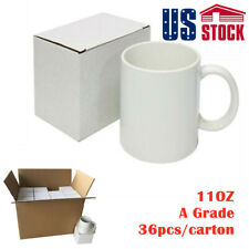 Us Blank White Mugs A Grade 11oz Sublimation Coated Mugs For Heat Press With Box
