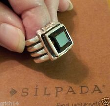 SILPADA FACETED SMOKY QUARTZ STERLING SILVER RIBBED BAND RING SZ 6 R1041 RETIRED