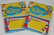 600 Dr Seuss Cat In The Hat Nametag Stickers Teacher Schools Birthday Party Bulk