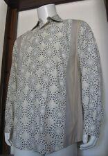 L Men Claiborne Casual Long Sleeve Button Shirt White Beige Blue Cotton EUC