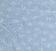 """White Bows on Light Baby Blue Cotton Fabric Cranston VIP Quilt Sew BTY x 59"""" W"""