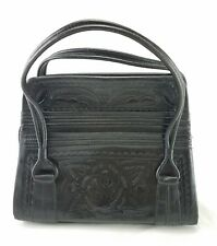 Vintage Art Nouveau Hand Tooled Leather Purse Hand Bag by Flores Bags Mexico