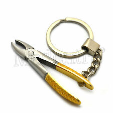 X1 Stainless Steel Tooth Extracting Dental Forceps Key Ring-Keychain Gift Gold