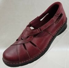 Clarks Bendables Nikki Womens Red Leather Slip On Flats Shoes 39336 Size 7.5W