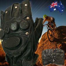 Leather Half Finger Gloves Fingerless Men's Sports Cool Black Cycling CGLOV8975