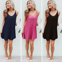 Women's Summer Sling Shoulder Sexy Mini Dress Ladies Holiday Party Beach Dresses