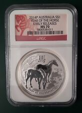 2014 Australia Horse 1 oz 999 Silver coin NGC MS 70 - Early Releases