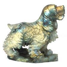 "Dog Statue Natural Labradorite Stone Figurine Crystal Healing Reiki Decor 3.7"""