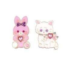 2 Piece/Set Enamel Cute Rabbit Cat Rhinestone Heart Brooch Pins Fashion Jewelry