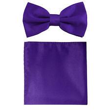 New formal men's pre tied Bow tie & Pocket Square Hankie solid purple wedding