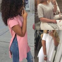 Womens Summer Short Sleeve Casual Loose Side Split T-Shirts Blouse Shirt Tops US