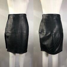 Rare Vtg Gianni Versace Black Leather Skirt M 42