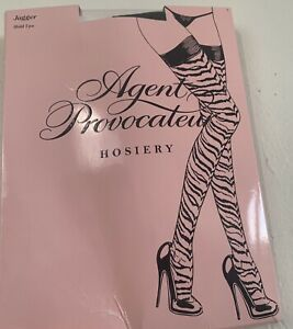 Rare Discontinued Agent Provocateur Jagger Hold Ups Hosiery Tiger Stripes S NIB