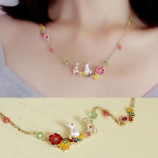 Girls Kids Cute Flower Rabbit Necklace Pendant Chain Charm Choker Jewelry Gifts
