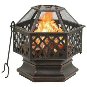 Rustikale Feuerstelle mit Schürhaken 62cm XXL Stahl Feuertonne Feuerstelle Grill