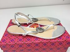 Tory Burch Liana Sandal Flat Silver Size 10.5 M Crystal Embellished