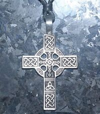 Celtic Cross Pendant Necklace Pewter on Cord with Display packing 50mm