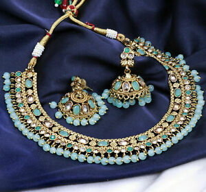 Indian Sea Green Gold Plated Pearl Choker Antique Necklace Earring Jewelry Set