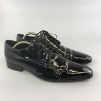 STEMAR Black Patent Leather Lace Up Classic Smart Dress Shoes Size 44 UK10 ITALY