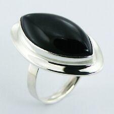 Silver ring 925 sterling black agate gemstone LARGE 27mm adjustable size trend