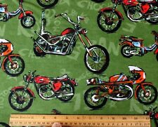 SNUGGLE FLANNEL *VARIETY of MOTORCYCLES on GREEN * 100% Cotton Fabric *NEW*  BTY