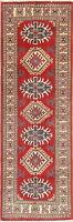 Geometric South-western Red 6 ft Kazak Pakistan Oriental Runner Rug Wool 2x6 ft