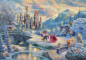 Thomas Kinkade Studios Beauty and The Beast's Winter Enchantment 18 x 27 LE S/N