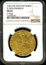 England (1361-69) S-1502 Edward III Gold Noble MS63 NGC 2106660-001