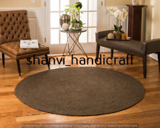 Rug Jute Natural Round Braided Floor Mat Handmade Reversible Runner Rugs 3 Feet