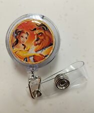 2017 Disney BEAUTY AND THE BEAST, Retractable Badge Name  Holder, Glitter Dome